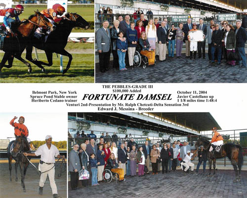 FORTUNATE DAMSEL bred by Edward J. Messina wins the G3 Pebbles Stake at Belmont Park